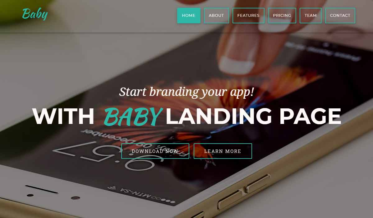 Baby App Landing Page