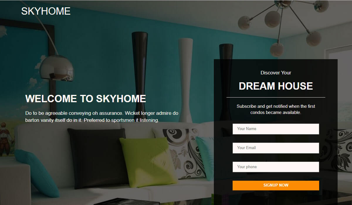 skyhome free landing page template
